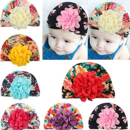 c109826ac2f Honganda - Toddler Infant Kids Baby Boy Girl Cute Colorful Flower Cotton  Beanie Hats Turban Winter Warm Cap - Walmart.com