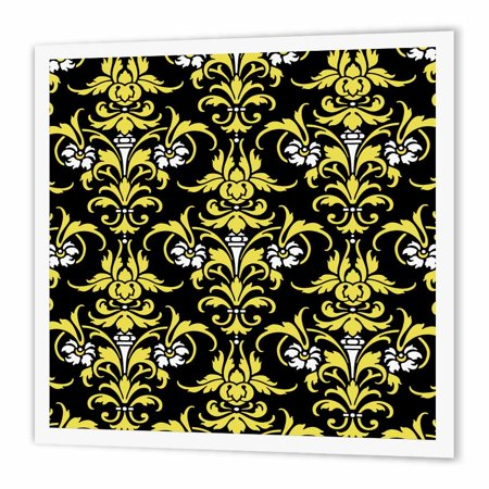 3dRose Victorian Damask Pattern in Black White and Yellow, Iron On Heat Transfer, 8 by 8-inch, For White