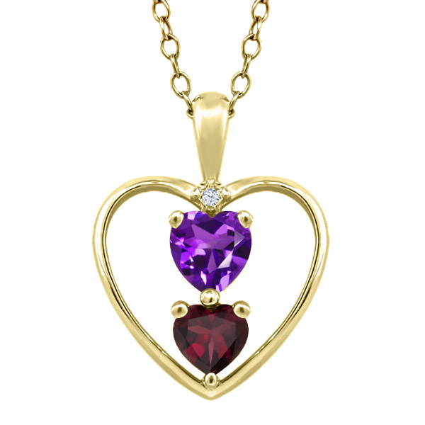 0.78 Ct Purple Amethyst Red Rhodolite Garnet 18K Yellow Gold Plated Pendant