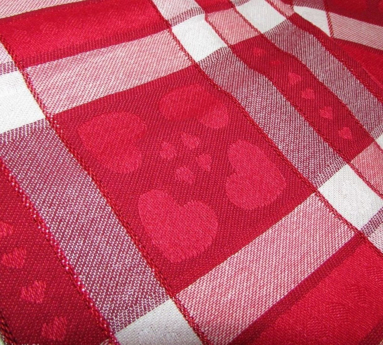 Share The Love Valentine Day Red Heart Plaid Tablecloth Fabric Table