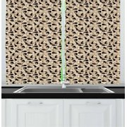 Cat Curtains 2 Panels Set, Hand Drawn Feline Pattern House Pet Playing with Mouse and a Ball of Yarn, Window Drapes for Living Room Bedroom, 55W X 39L Inches, Black Tan Sea Green, by Ambesonne