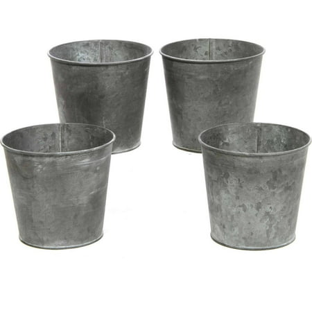Set of 4 Small Galvanized - Galvanized Buckets Wholesale