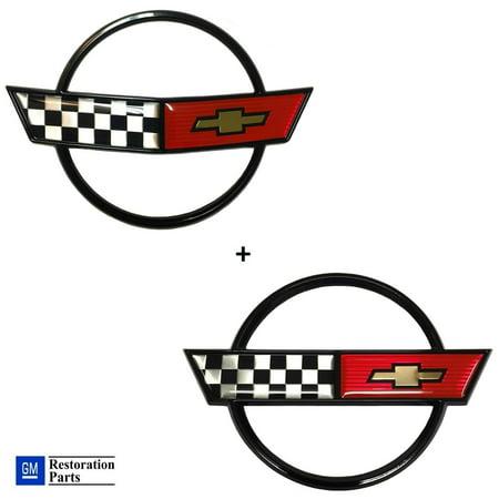 Front Nose Emblem (C4 Corvette Front Nose Emblem + Gas Fuel Lid Emblem Cross Flag Official GM Restoration Parts Includes Both Front and Rear Emblems Fits: 84 through 90)