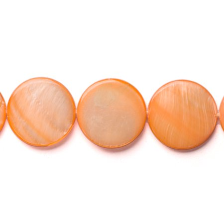 Orange Mother-Of-Pearl Round Plate Shell Beads Size:20x20mm