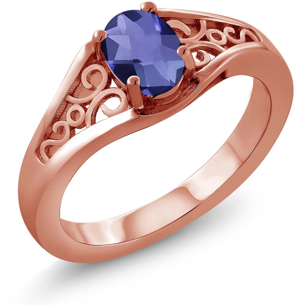 0.65 Ct Oval Checkerboard Blue Iolite 925 Rose Gold Plated Silver Ring