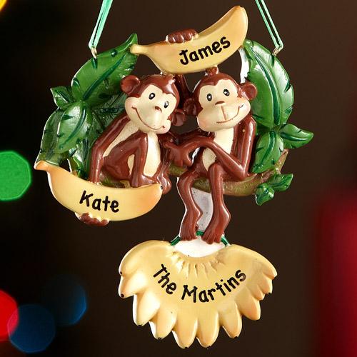 Personalized Monkey Family Christmas Ornament, 2 Monkeys