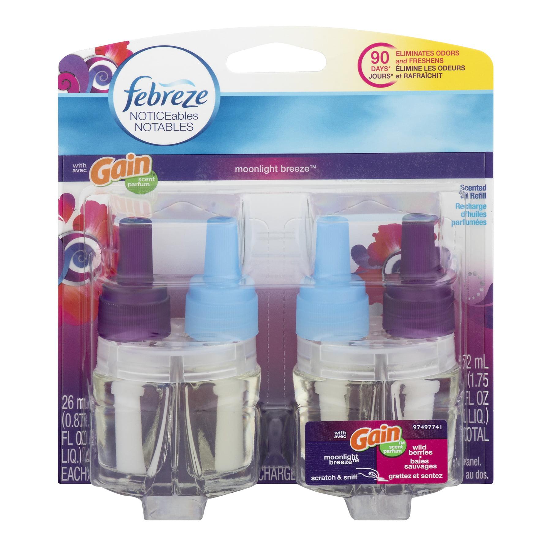 Febreze Noticeables Air Freshener Refills, with Gain Moonlight Breeze 0.87 fl. oz. (Pack of 2)