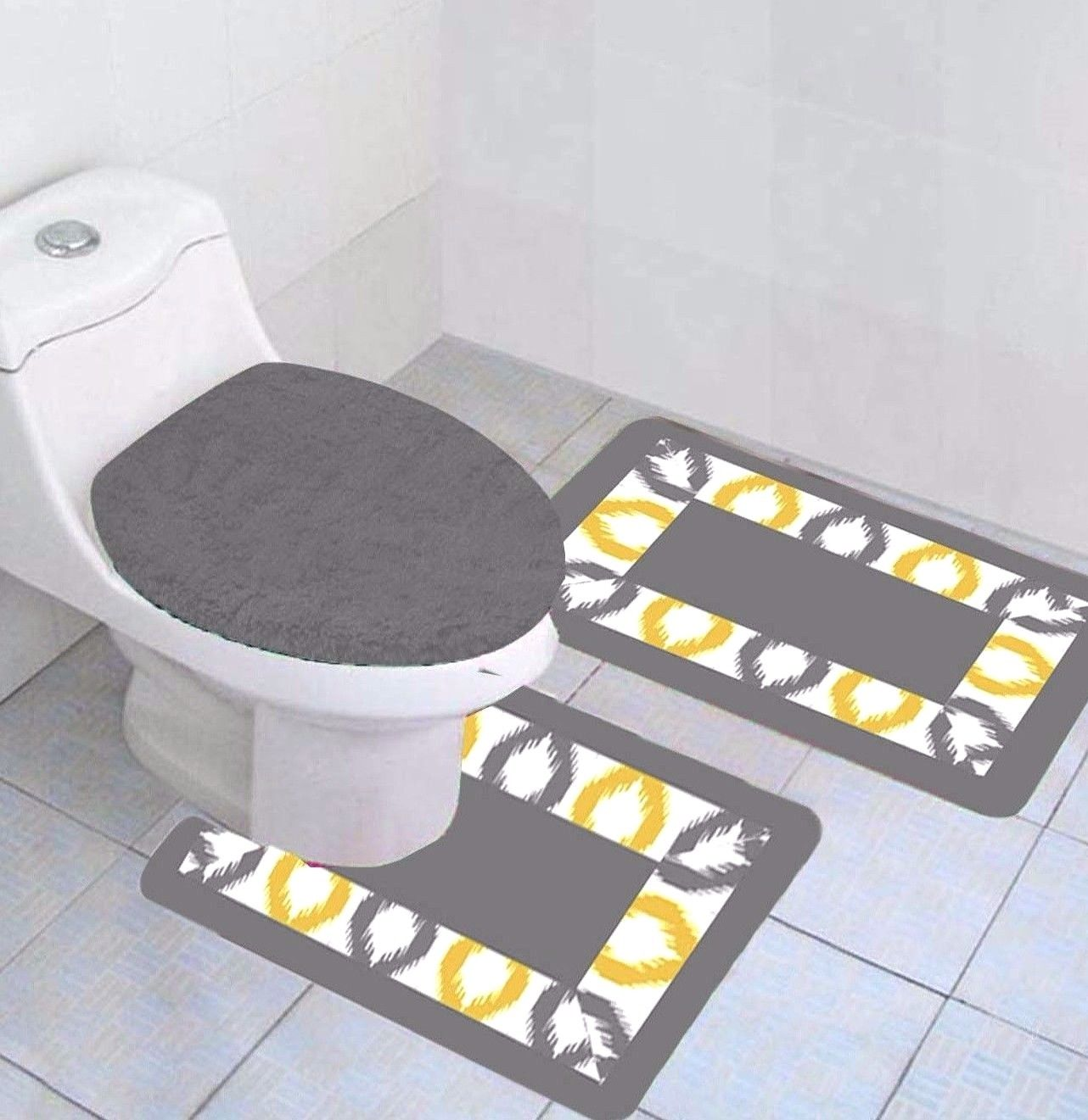"""3-PC Keena Yellow Printed Bathroom Rug Set NON-SLIP Bath Rug 17""""x28"""", Contour Rug 17""""x17"""" and Toilet Seat Lid Cover 18""""x18"""" with Non-Skid Rubber Back"""