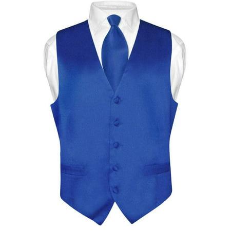 (Biagio Men's SILK Dress Vest & NeckTie Solid ROYAL BLUE Color Neck Tie Set)
