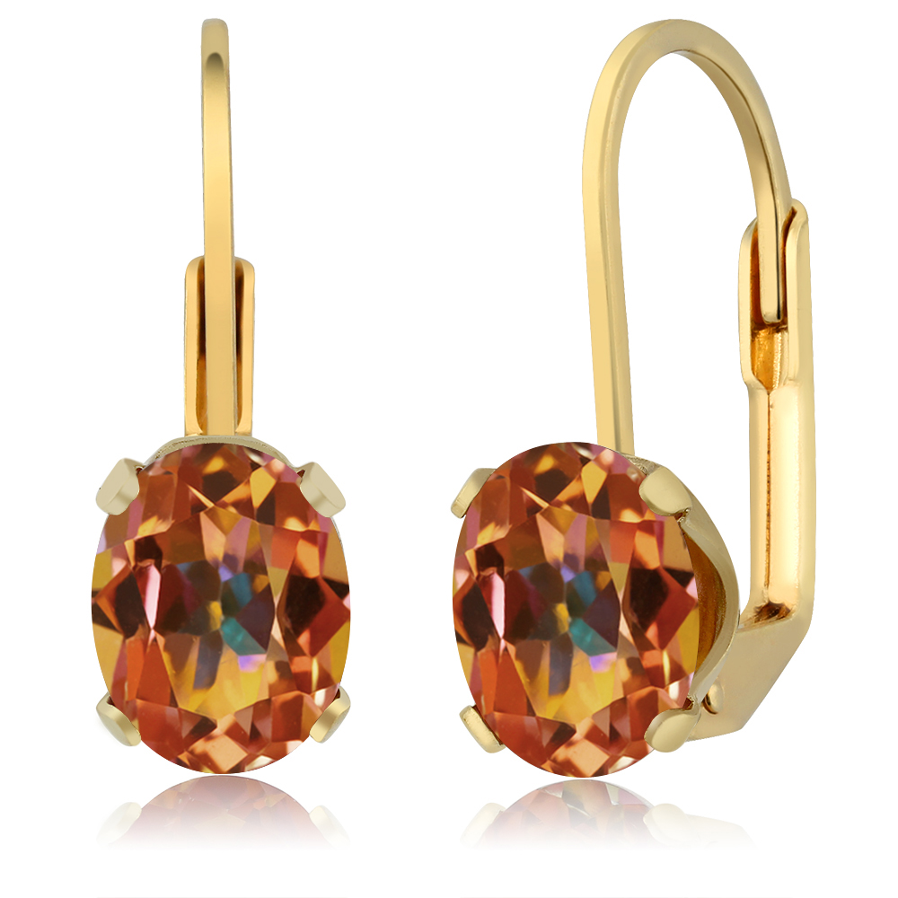 3.20 Ct Oval Shape Ecstasy Mystic Topaz Yellow Gold Plated Women's Stud Earrings