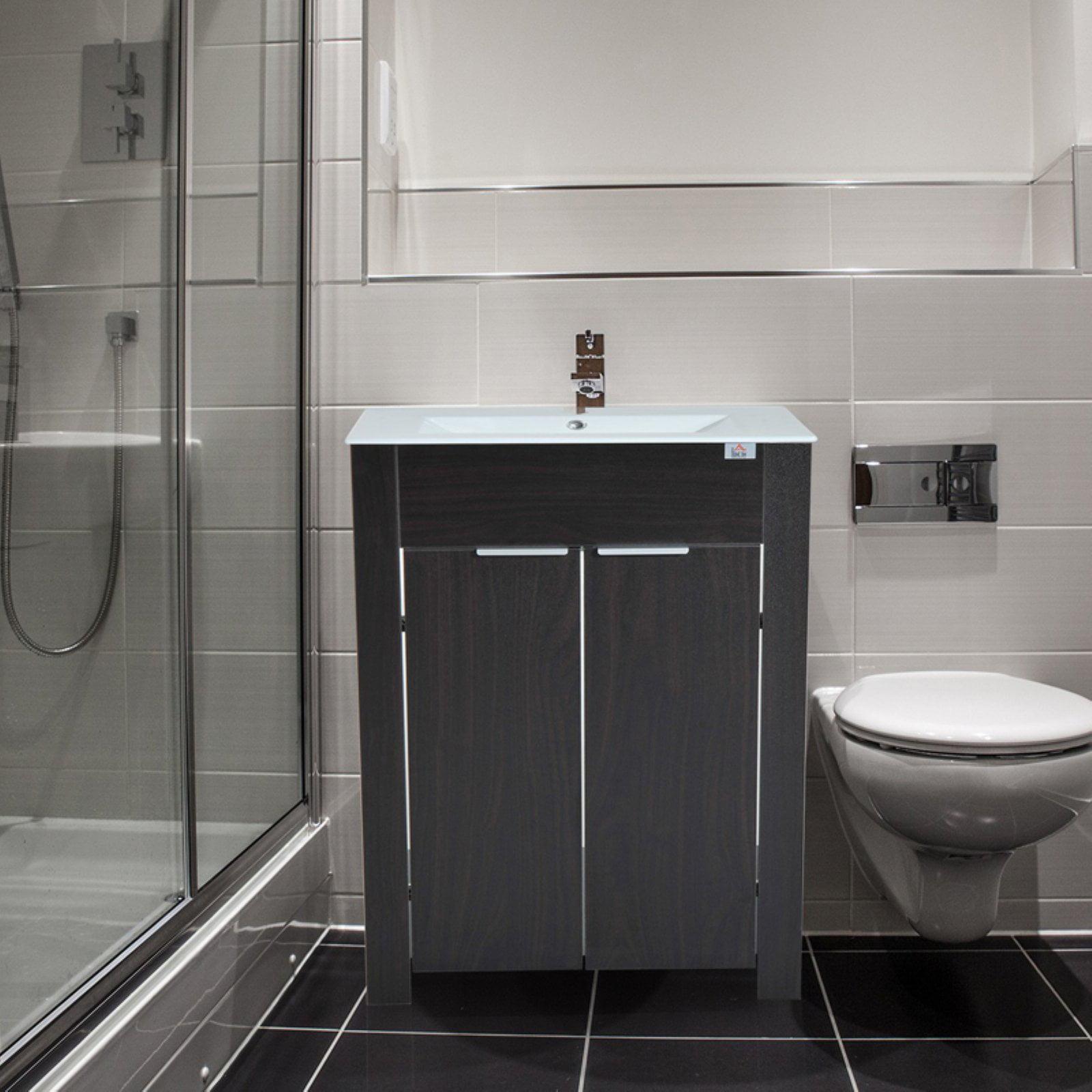 HomCom Single Sink Bathroom Vanity Cabinet with Ceramic Sink Top
