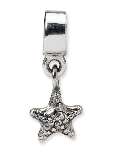 Sterling Silver Polished Antique finish Reflections Kids StarFish Dangle Bead Charm