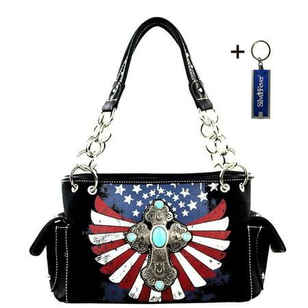 Montana West Western Bling Collection Satchel Handbag w Key Chain (Black Spiritual Cross (Key West Mall)