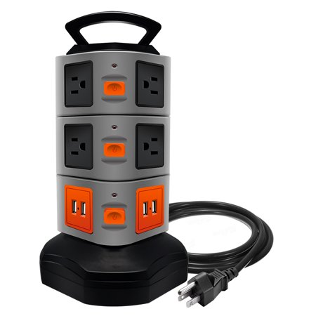 Safety Surge Protector Outlets - Surge Protector Power Strip, Costech Safety Universal Electric Charging Station; with 10 Outlets 4 USB/Rotating Tower/ 6 feet Cord Wire Extension Power Strip Tower (10 Outlets 4 USB)