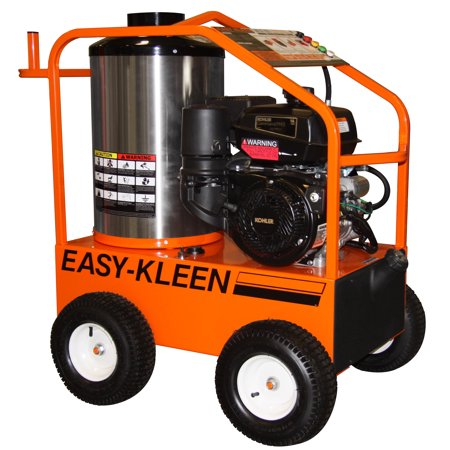 COMMERCIAL HOT WATER GAS PRESSURE WASHER, 14 HP ELECTRIC START KOHLER, 3.5 GPM @ 4000 PSI, GENERAL PUMP, 120 VOLT OIL FIRED BURNER, 350000 BTU