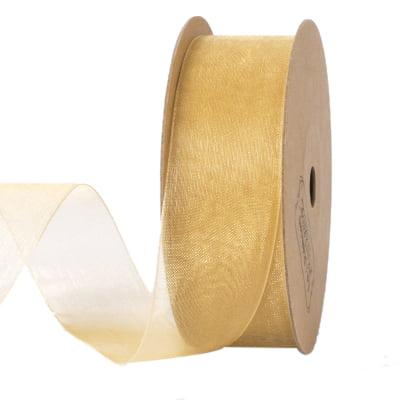 LaRibbons 1'' Organza Ribbon Gold 25 Yard Spool (Ribbons 25 Yard Rolls)