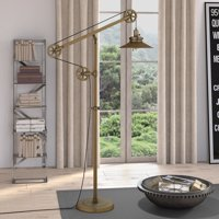 Descartes Brushed Brass Wide Brim Floor Lamp with Pulley System