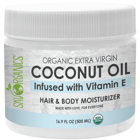 USDA Organic Vitamin E Infused Cold-Pressed Coconut Oil (16.9 oz) Enriched Moisturizing Body & Hair Repair Conditioner Mask for Dry Skin & Dry Scalp Hair Pressing Oil