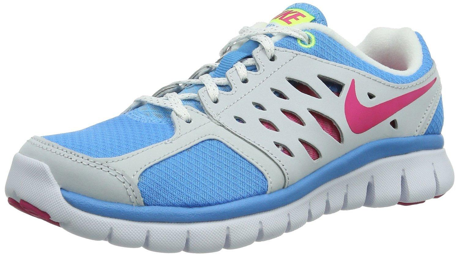 Nike Girl's Youth Flex 2013 RN GS Vivid Blue Pink Volt White Running Shoes