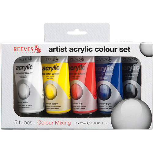 Reeves Basic Color Acrylic Paint Set, 5Pk