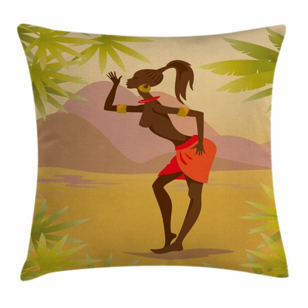 African Woman Throw Pillow Cushion Cover, Young Zulu Girl in Exotic Nature Tree Leaves Mountains Folkloric Clothing, Decorative Square Accent Pillow Case, 20 X 20 Inches, Multicolor, by Ambesonne