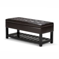 Brooklyn + Max City 44 inch Wide Traditional Ottoman Bench in Tanners Brown Faux Leather