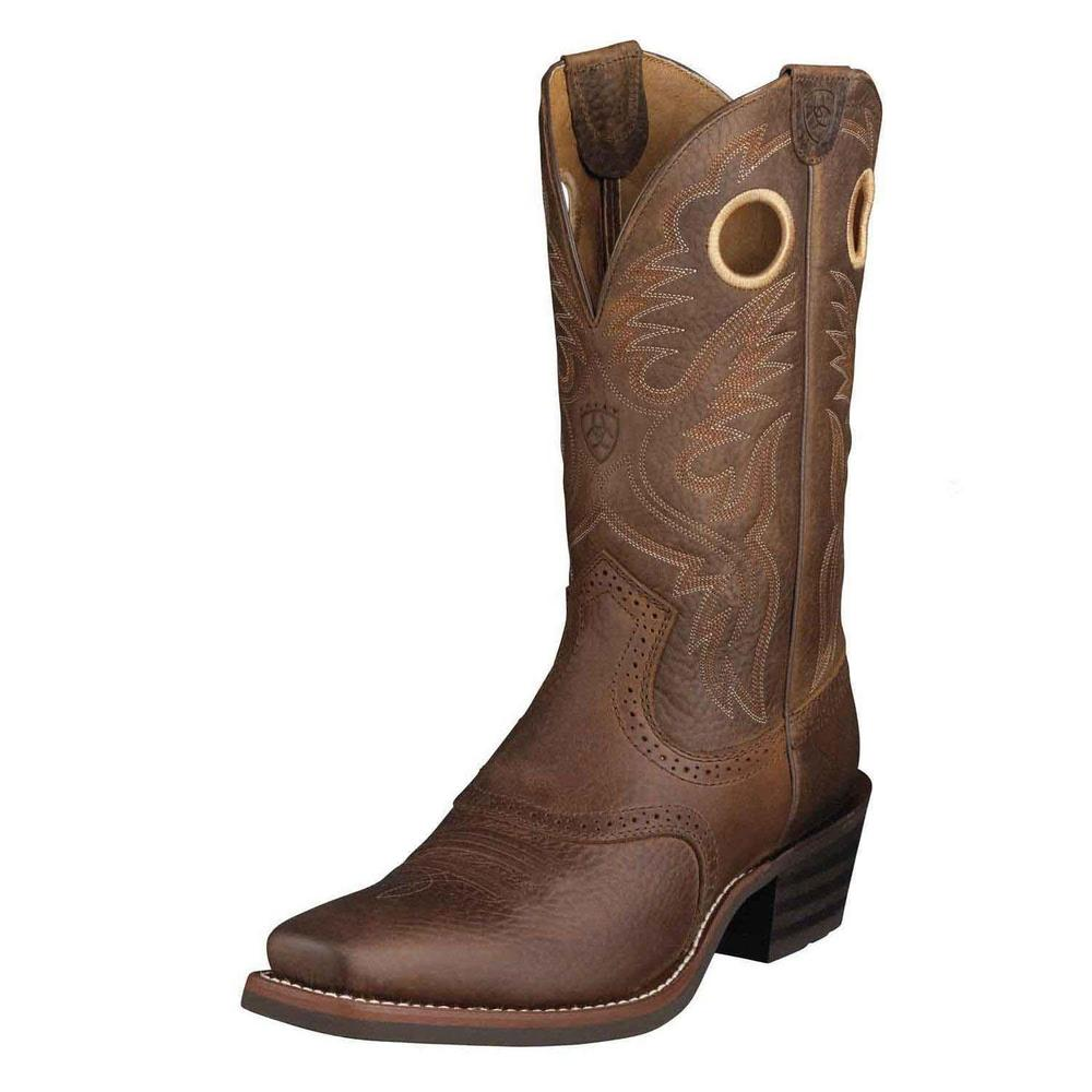 Ariat Heritage Roughstock Men Round Toe Leather Brown Western Boot by Ariat
