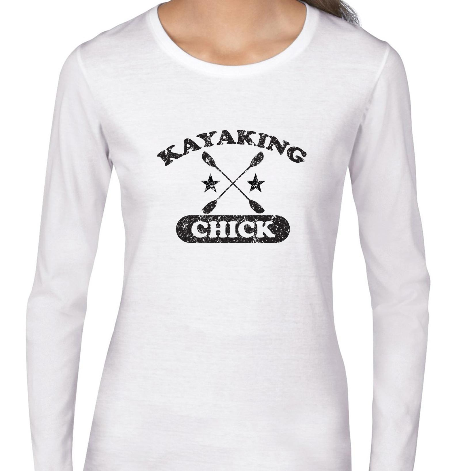 Kayaking Chick With Crossed Paddles Graphic Women's Long Sleeve T-Shirt