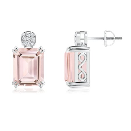 Emerald-Cut Morganite Cocktail Earrings with Diamond Cluster in 14K White Gold (10x8mm Morganite) -