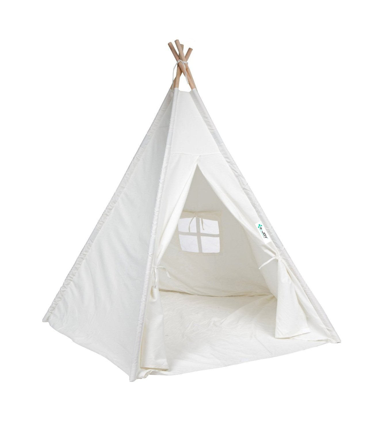 big sale 1a9e5 480f8 e-Joy Indoor Indian Playhouse Toy Teepee Play Tent for Kids Toddlers Canvas  Teepee With Carry Case (Off-White)