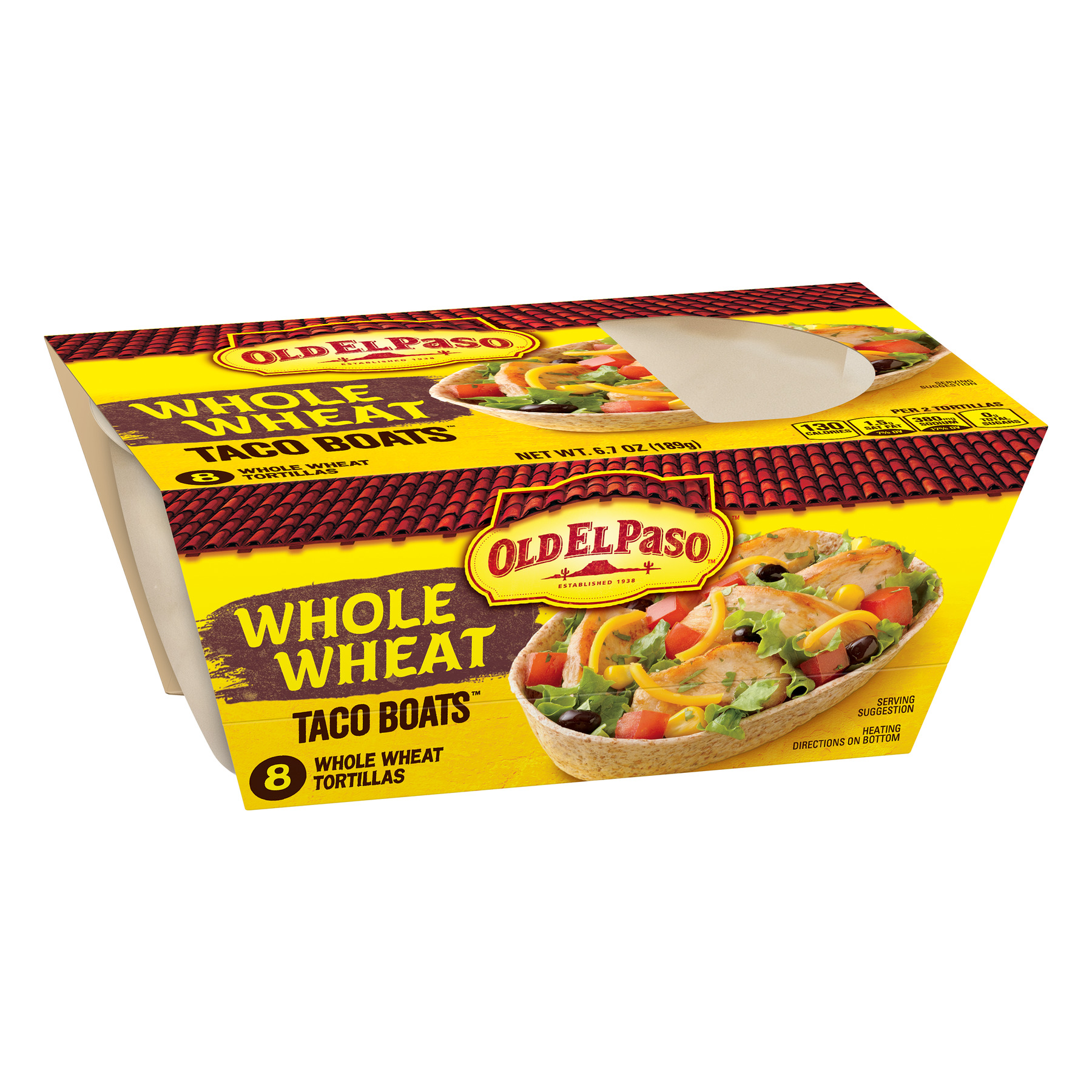 Old El Paso Taco Boats Whole Wheat Tortillas, 8 Ct, 6.7 oz