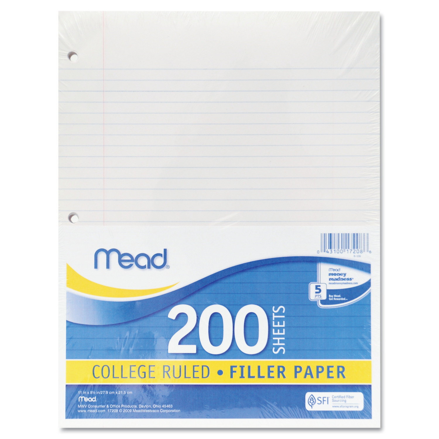 Mead Filler Paper, 15lb, College Rule, 11 x 8 1/2, White, 200 Sheets -MEA17208