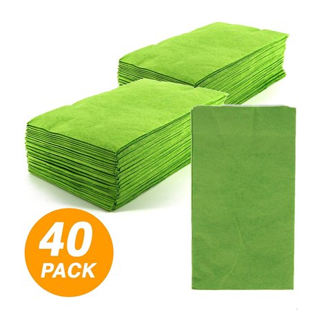 SparkSettings Big Party Pack Tableware 2 Ply Guest Towels Hand Napkins Paper Soft and Absorbent Decorative Hand Towels for Kitchen and Parties 40 Pieces Kiwi - Guest Towels 100 Napkins