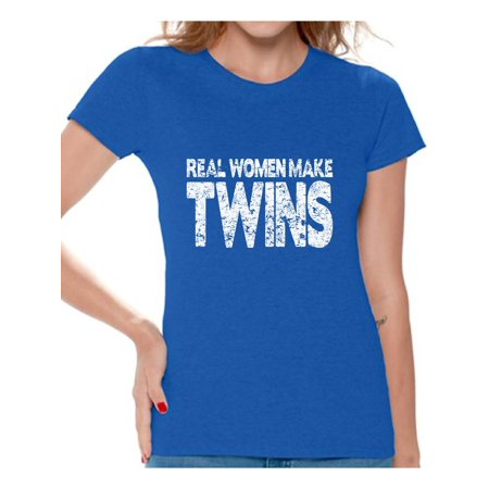 Awkward Styles Women's Real Women Make Twins Graphic T-shirt Tops Mother`s Hilarious ()