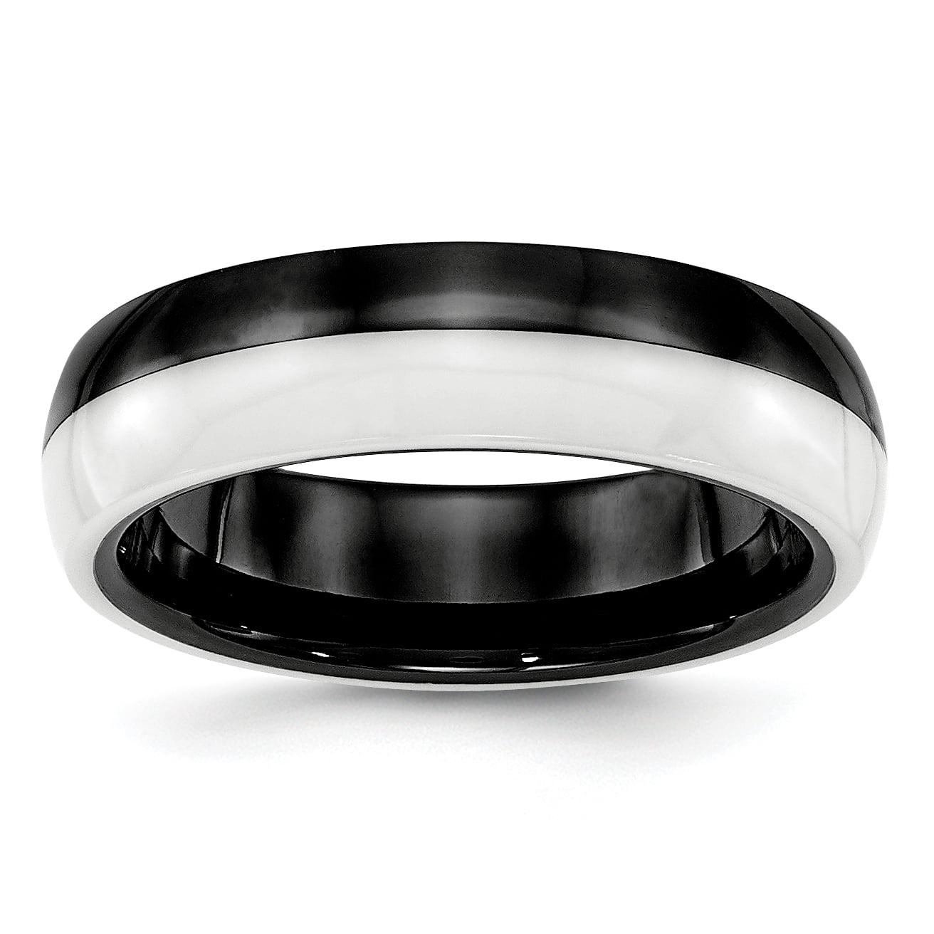 Bridal Wedding Bands Decorative Bands Ceramic Black and White 6.00mm Band Size 7.5