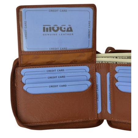Moga Italian Design Mens Handmade Italian Design Leather Zip Around Bifold Wallet 91256 ()