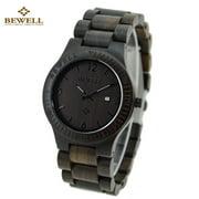 BEWELL Brand Fashion Wood Quartz Watch Water-resistant Luminous Men Women Ebony Wooden Casual Wristwatch with Calendar