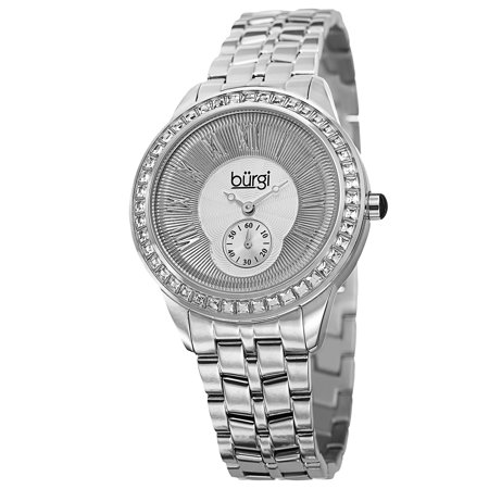 Women's Swiss Quartz Crystal Bezel Stainless Steel Silver-Tone Bracelet Watch