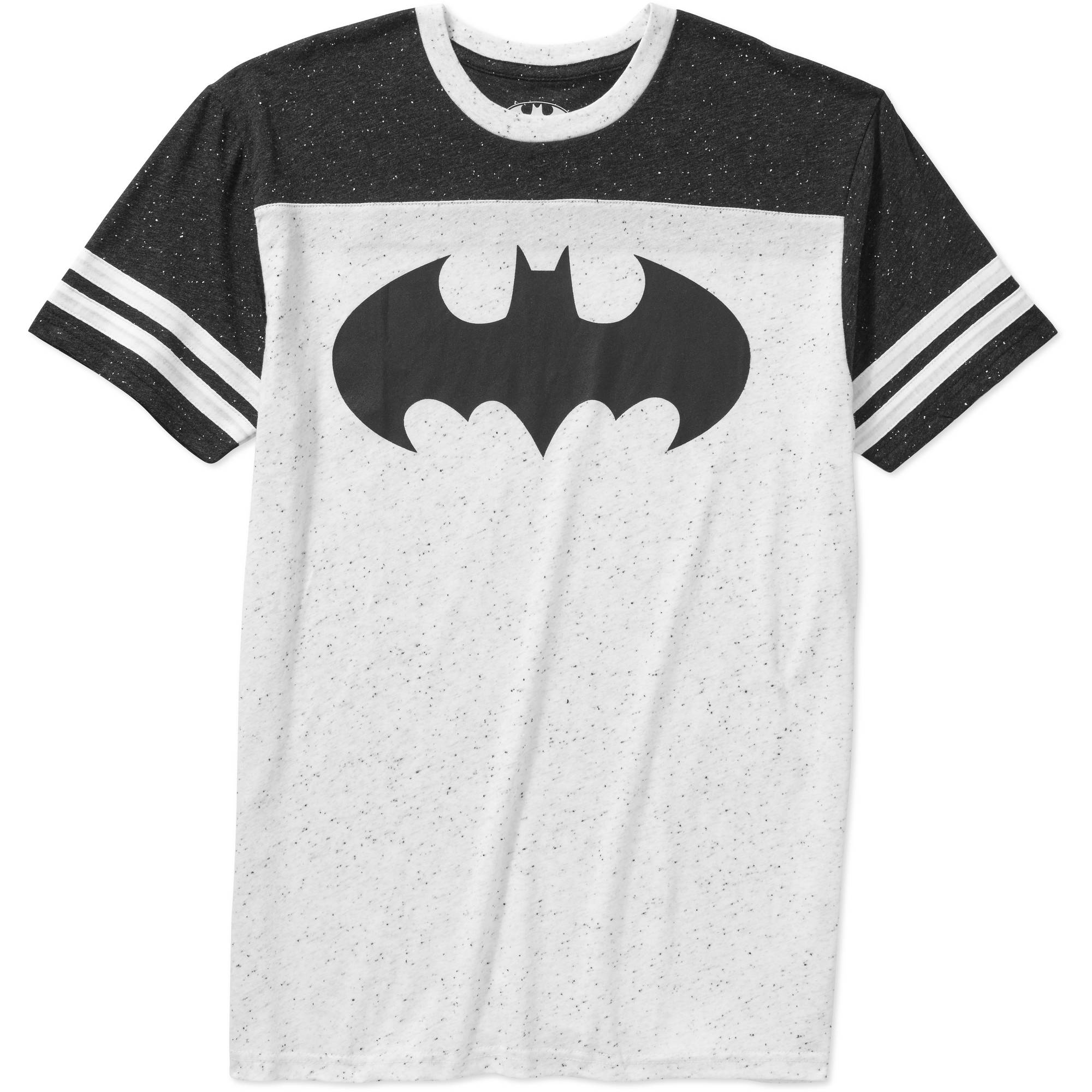 Batman Logo Black and White Big Men's Knit Ringer Sleeve Graphic Tee, 2XL