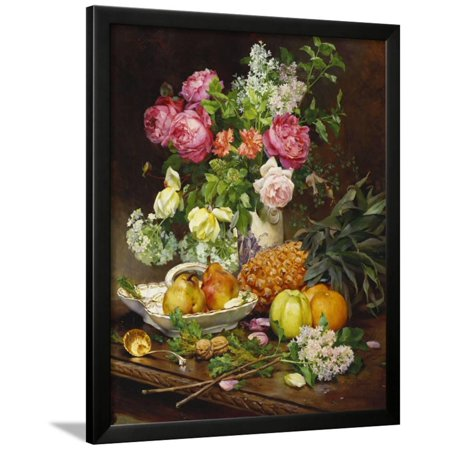 Roses in a Vase, Pears in a Porcelain Bowl and Fruit on an Oak Table Framed Print Wall Art By Louis Marie De Schryver