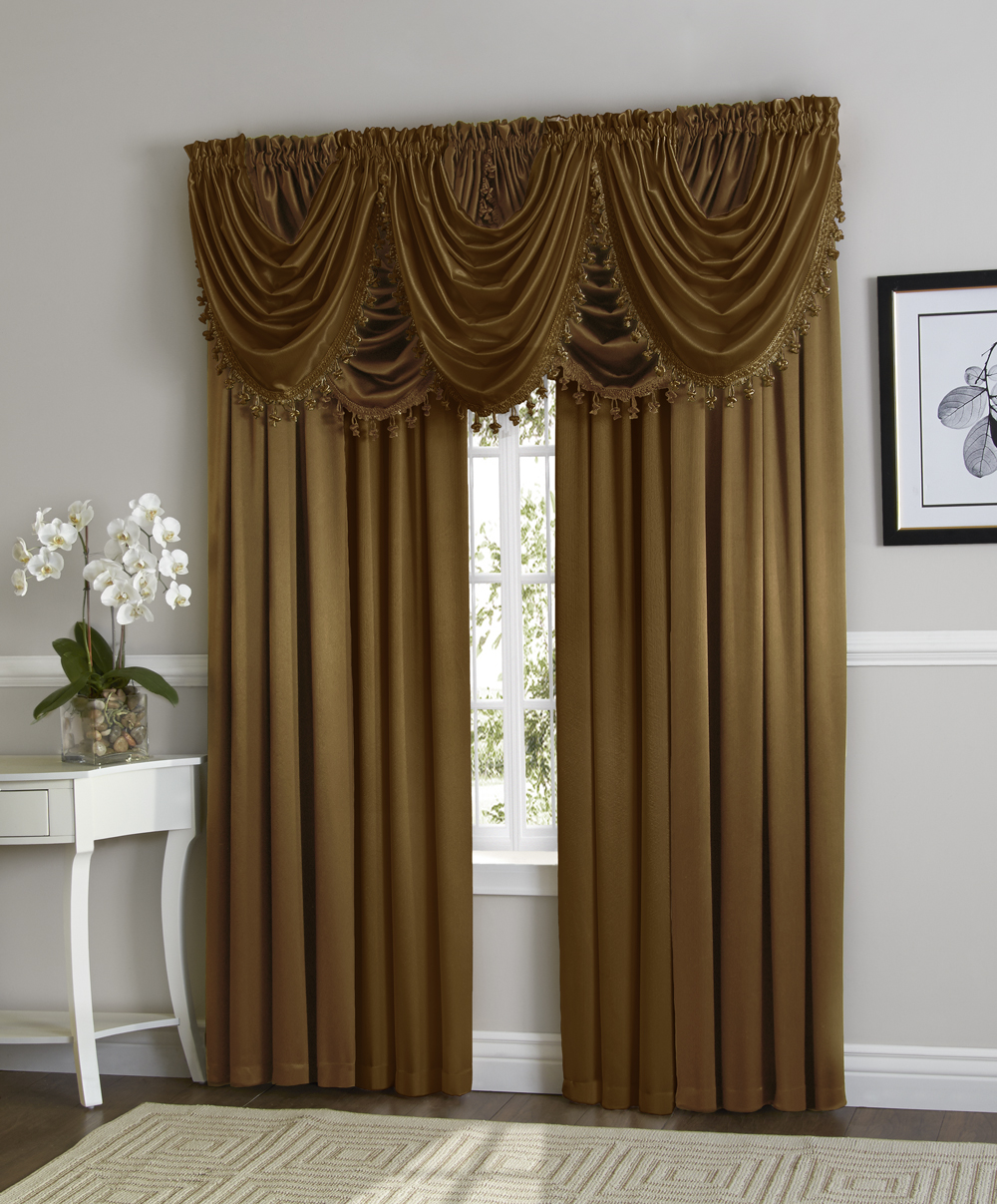 Hyatt Window Curtain & Fringed Valance Complete 9 Piece Window Treatment Set Gold by