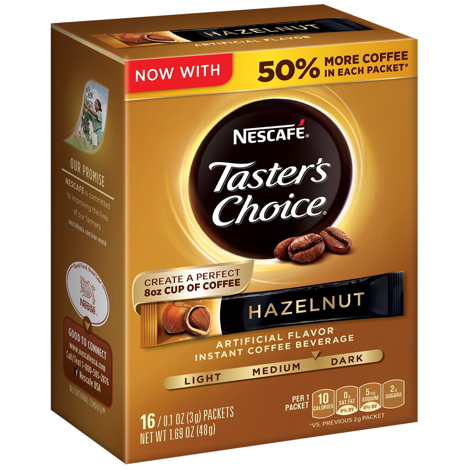 (3 Pack) NESCAFE TASTER'S CHOICE Hazelnut Medium Dark Roast Instant Coffee Beverage 16-0.1 oz. Singles