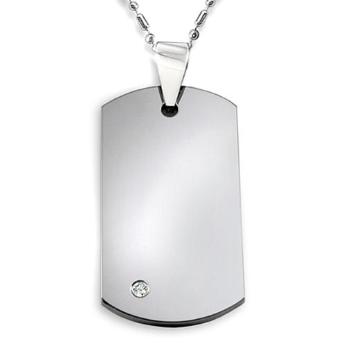 """Crucible Tungsten Carbide Dog Tag with CZ on 24"""" Ball-Bar Chain (FREE Jewelry Box Included)"""
