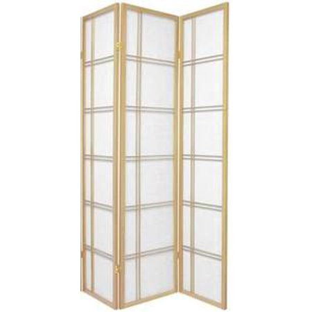 Legacy Decor 3 Panel Double Cross Shoji Screen Room Divider Natural Color