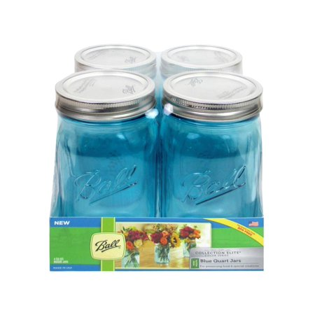 Ball Jar Quart Wide Mouth Elite Blue 4Pc
