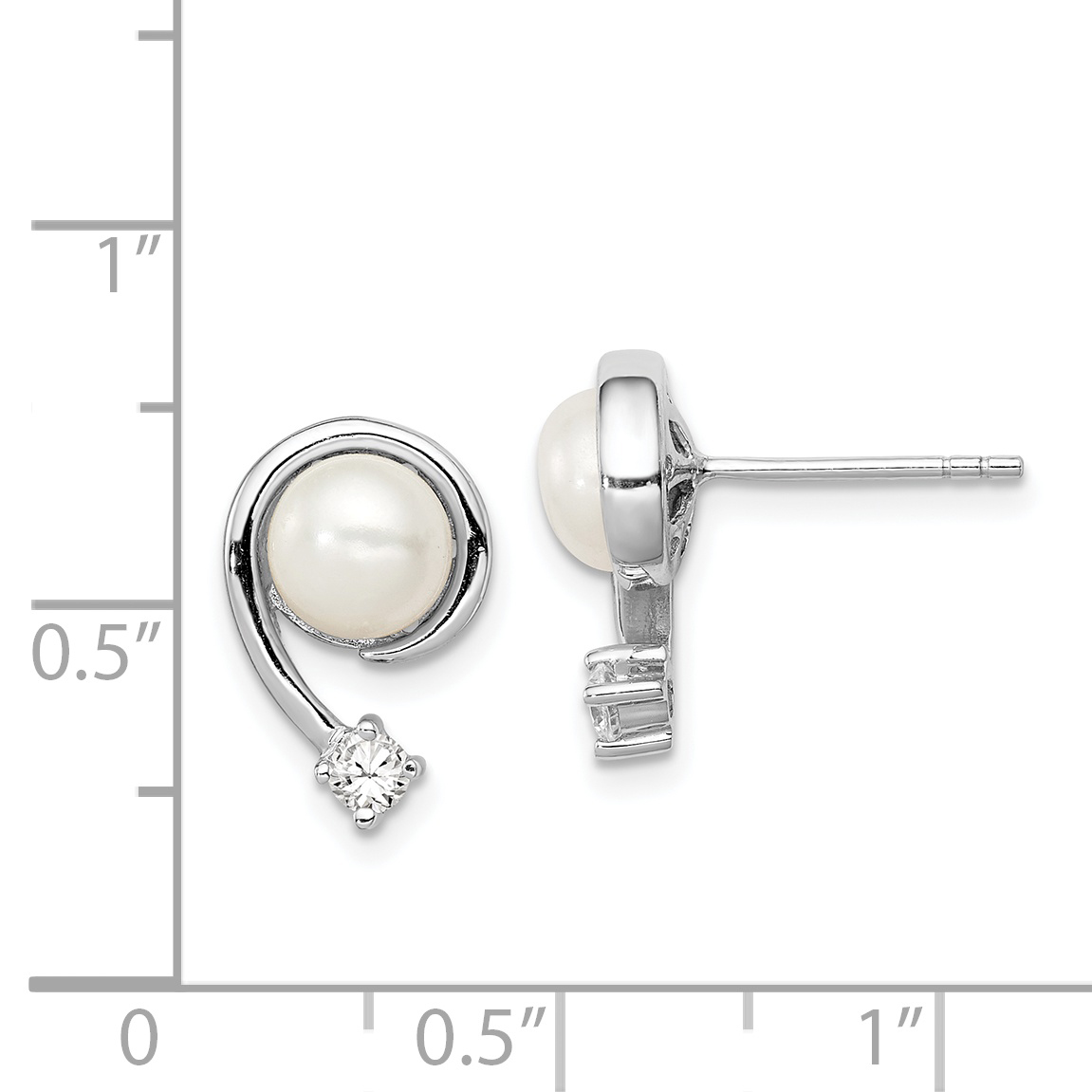 925 Sterling Silver 8mm White Freshwater Cultured Pearl Cubic Zirconia Cz Post Stud Earrings Ball Button Fine Jewelry Gifts For Women For Her - image 1 de 2