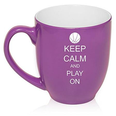 16 oz Large Bistro Mug Ceramic Coffee Tea Glass Cup Keep Calm and Play On Basketball (Purple)