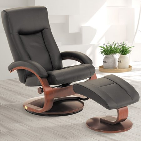 Oslo Collection by Mac Motion Hamar Recliner and Ottoman in Black Top Grain Leather