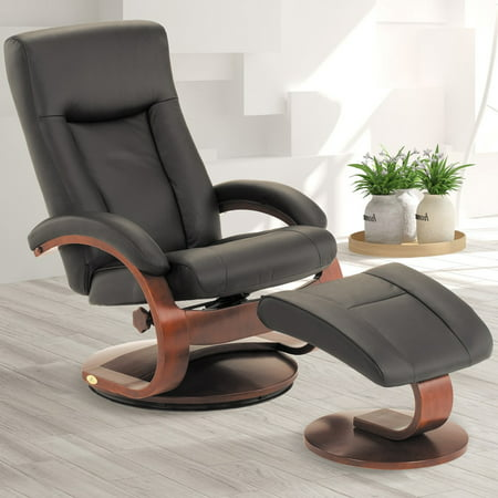 - Oslo Collection by Mac Motion Hamar Recliner and Ottoman in Black Top Grain Leather