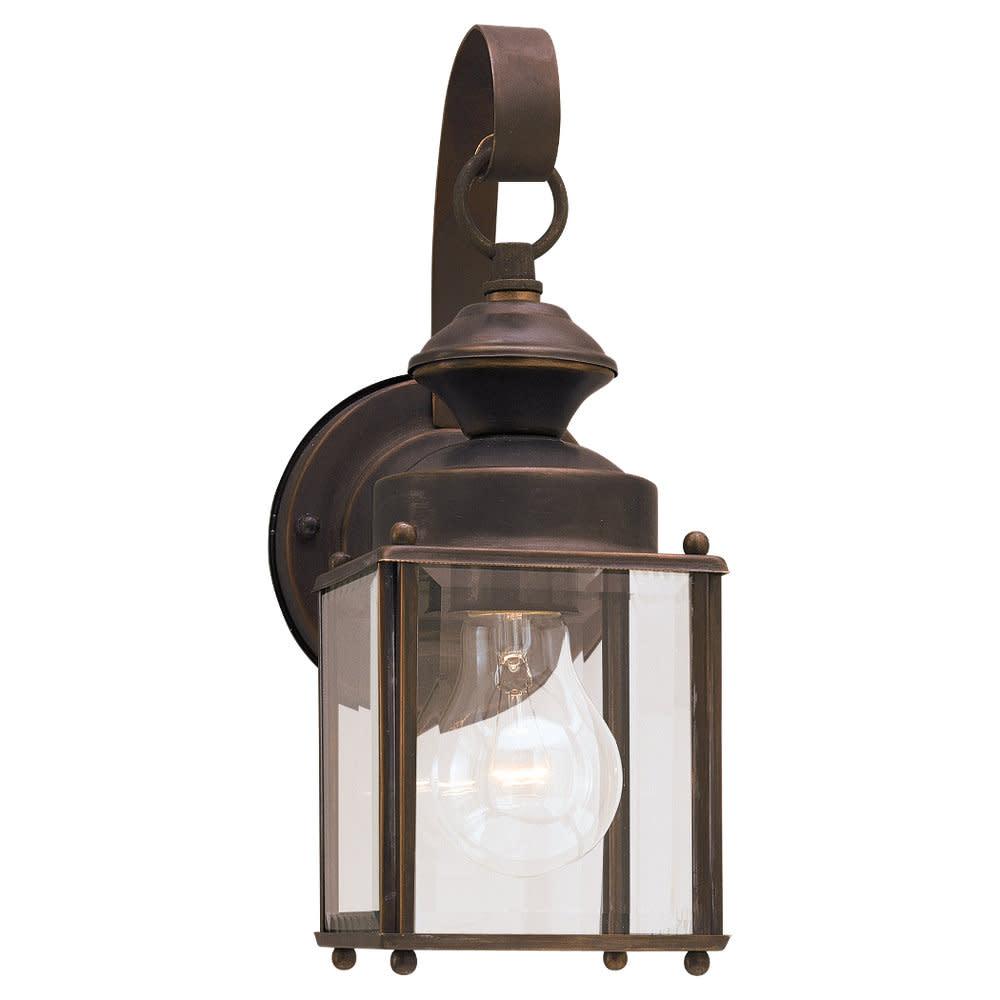 Sea Gull Lighting 8456 Flat Glass & Brass Lantern 1 Light Outdoor Lantern Wall S